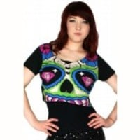 TOO FAST CROP TOP PIN UP GOTHIC PUNK EMO ROCKABILLY PIN UP ZOMBIE SKULL SHIRT L