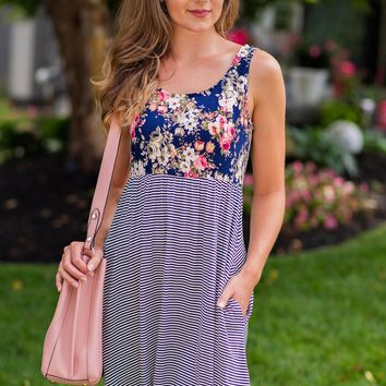 Piece of My Heart Floral/Stripe Dress: Navy