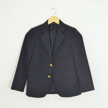 Vintage 90s Tiny Fit Cropped Boyfriend Blazer Navy Wool Blend Gold Tone Buttons Nautical Schoolboy Size Womens XSmall