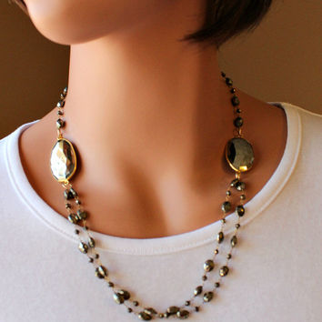 Pyrite Stone Double Strand Necklace, Grey Gold Gemstone, Gold Vermeil, Wire Wrapped, Beaded Necklace, Fool's Gold