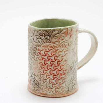 Porcelain Mug, Coffee Mug, Ceramic Mug, Tea Mug with handle, Tea Cup, Modern Mug, Pottery Mug, Hand built mug, Ready To Ship