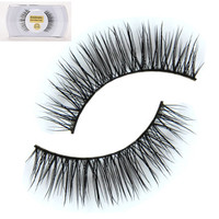 New 1 Pair Black 100% Real Horse Hair Thick Long Eye Lashes False Eyelashes