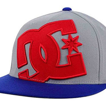 DC Shoes Ya Heard Grey/Blue/Red Flexfit Hat Cap Small/Medium