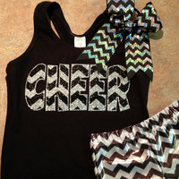 Custom Glitter and Chevron Cheer Set - Metallic Chevron Shorts, Racerback Tank and Chevron Bow - Multiple Color Options