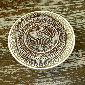 Violet Flower Stamp, Indian Printing Block, Hand Carved Wood Stamp, Large Round Wooden Circle Stamp, Ceramics Textile Pottery, India Decor