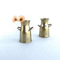 Pair of Vintage Brass Milk Cans
