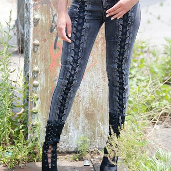 NONA ACID WASH LACE UP STRETCH JEANS