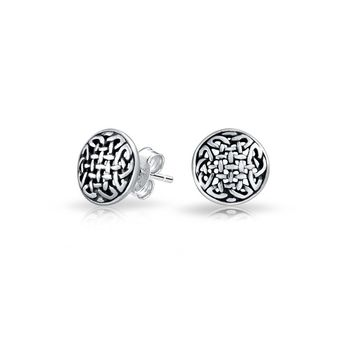 Medallion Shield Celtic Knot Love Circle Stud Earrings Sterling Silver