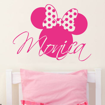 Wall Decal Vinyl Sticker Decals Art Decor Design Disney Custom Baby Name Head Mice Girl Ears Mickey Mouse Gift Kids Children Nursery(r809)