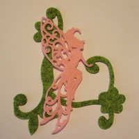 Delicate pink filigree fairy with wool felt vine, embellishment, scrapbooking, supply, handmade, ready to ship.