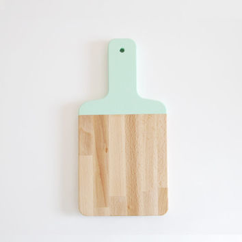 Mint Green Paddle Cutting Board | Host Gift | Wooden Cutting Board | Painted Chopping Board | Hostess Gift