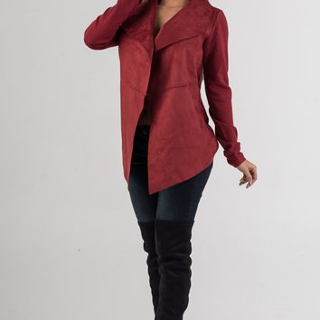 Wine Suede Waterfall Jacket