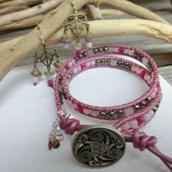 Handmade Double Wrap Bracelet and Earring set - Ume Plum Blossom