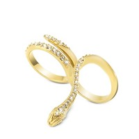 Just Cavalli Designer Rings Just Medusa Two Fingers Golden Steel Ring w/Crystals