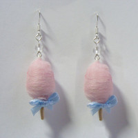 Cotton Candy / Candy Floss  Miniature Food Earrings - Miniature Food Jewelry