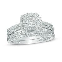 1/2 CT. T.W. Composite Diamond Double Frame Bridal Set in 10K White Gold - View All Rings - Zales