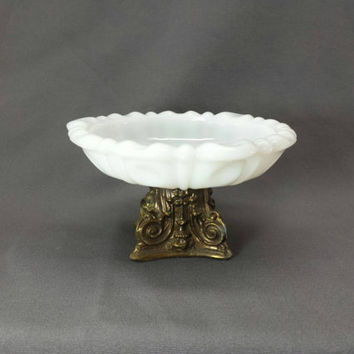 Vintage Milk Glass Bowl Metal Base, Compote Dish, Milkglass Pedestal, Wedding Serving Bowl, Candy Nut  Dish, Soap Dish, Fancy Ashtray