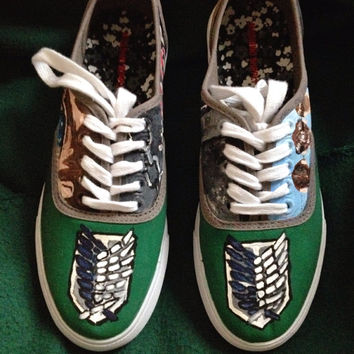 Shingeki no Kyojin Attack on Titan custom personalised shoes eren jaeger awesome anime hand painted shoes