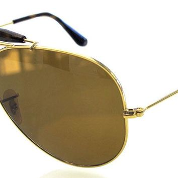 RAY BAN 3029 62 OUTDOORSMAN II GOLD HAVANA LENS BROWN REMIX CUSTOMIZED