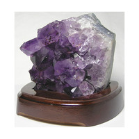 Amethyst Crystal Cluster Raw Purple Crystals in Wooden Base Display Stand Big Chunky Crystals with Golden Hematite Needle Inclusions