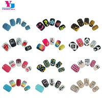 New 24pcs/Pack Pre Glue False Nails French Nep nagels Artificial Fake Nails Nail Art Design Nail Tips Faux Ongles 3D Tip Sticker