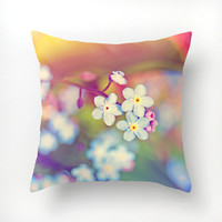 Photo pillow cover, decorative pillow case, Forget Me Not flowers, decorative throw pillow, 16x16, home decor, nature photograph