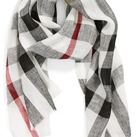 Women's Burberry 'Giant Exploded Check' Linen Scarf