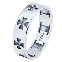 Sterling Silver Knight Templar Cross Silver Band Ring