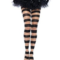 Leg Avenue 7917 Women's Sheer And Opaque Striped Pantyhose Tights