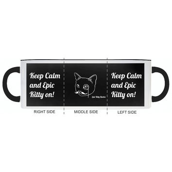 Keep Calm and Epic Kitty on! Cat Coffee Mug Gifts for Cat Lovers EKQ Black and White 11oz