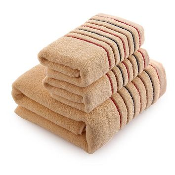 Adults Stylish Striped , 100% Plush Cotton, Super Absorbent, 3 Piece Towel Set. Choose from 3 Solid Colors of Brown, Gray and White with Stripes. Great Gift Ideas, Couples, Wedding Gifts or Any Occasion