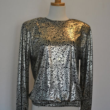 Silver Black Metallic Blouse Flashy Party Ready
