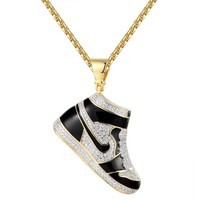 14k Gold Finish Black Sport Shoes Iced Out Pendant Chain