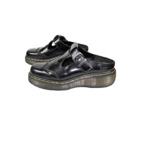 uk 8 | black patent leather Dr Martens Made in England t bar clogs / platform mary janes / chunky slip on open back buckle strap / US 9 - 10