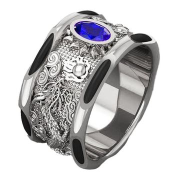 White Gold Sapphire Dragon Ring Solid Gold Men's Elephant Hair Dragon Ring Big Heavy Ring Unique Engagement Ring
