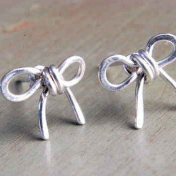 Silver Bow Tie Earrings Sterling Tie Knots