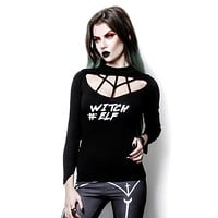 Witch Elf # High Neck harness neck black top