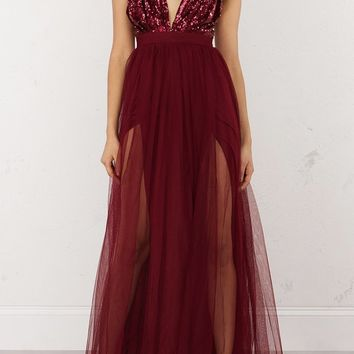 Runway Sequin Sheer Maxi Dress - Burgundy