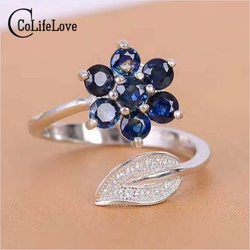 CoLife Jewelry resizable gemstone ring solid 925 sterling silver sapphire ring 7 pcs 3 mm * 3 mm natural dark blue sapphire ring