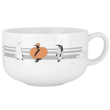 Penguins in the Pumpkin Patch Funny Halloween Soup Bowl With Handle