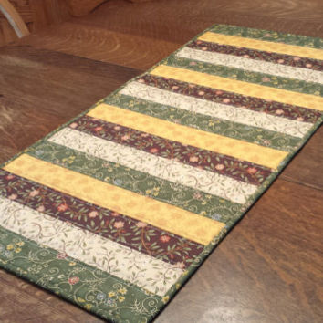 Quilted Table Runner, Table Runner, Patchwork Runner, Floral Table Runner, Country Table Runner, 16 x 34, gold, green, brown, orange, cream