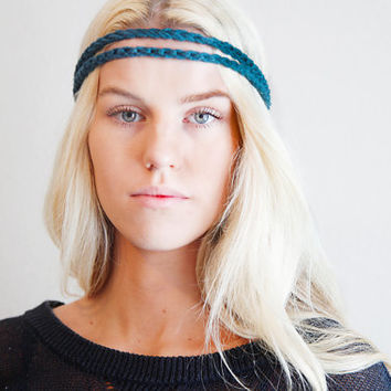 Double Strand Headband Double Braid Hair Band Hippy Style Boho Music Festival Hairwrap in Dark Teal