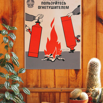 1960's Soviet Sign: Fire Safety / ORIGINAL USSR Vintage Cardboard Poster, Russian Text, KYIV Public Safety Wall Art, Minimal Fire Graphics