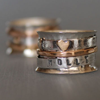 mothers day ring - personalized ring - 14K gold personalized ring - worry ring - mixed metal spinner ring - mothers ring - new mother gift