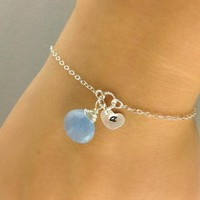 Monogrammed Bracelet, Sky Blue Chalcedony, Initial Stamped Heart disc, Sterling Silver, Birthstone Bracelet, Personalized Birthday Gift