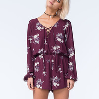Mimi Chica Womens Lace Up Floral Romper Purple  In Sizes