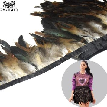 PMYUMAO Natural feather ribbon 6-8inch 2meter/lot Dyed high quality Rooster Feathers Fringe Trim for Costume decoration