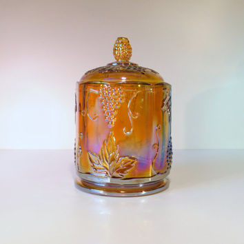 Carnival Glass Biscuit Jar, Canister in Amber, Harvest Grape Pattern by Indiana Glass Co