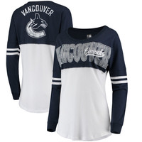 Vancouver Canucks 5th & Ocean by New Era Women's Baby Jersey Long Sleeve Crew T-Shirt - White/Blue