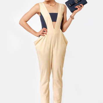 Swagging Rights Navy and Beige Jumpsuit